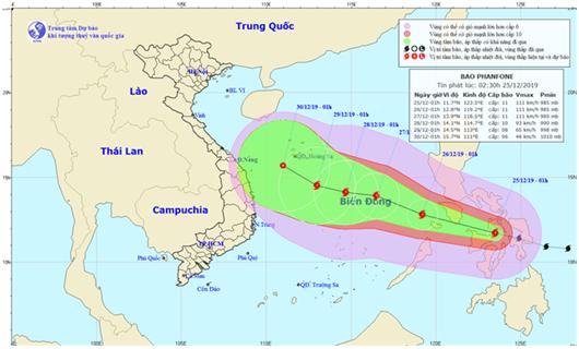 Cảnh báo bão Phanfone giật cấp 11 đang tiến vào Biển Đông - Ảnh 1