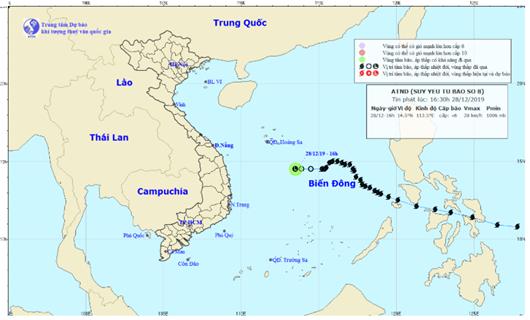 Bão Phanfone suy yếu thành áp thấp nhiệt đới trên Biển Đông - Ảnh 1