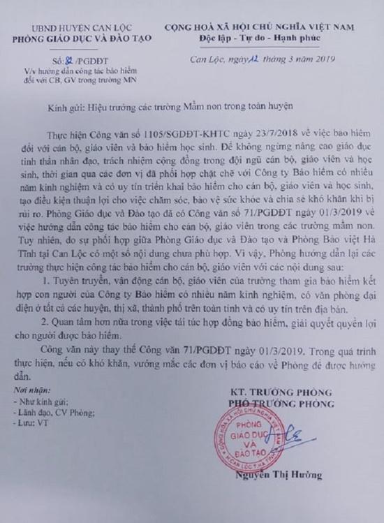 """Phòng GD&ĐT Can Lộc nói gì về công văn """"lạ"""" yêu cầu giáo viên mua bảo hiểm trái luật? - Ảnh 2"""