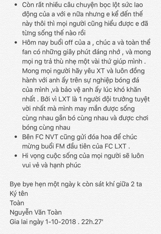 """Đúng ngày sinh nhật Văn Toàn, Xuân Trường công khai """"tâm thư tố khổ"""" của đàn em - Ảnh 4"""