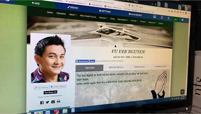Dự kiến thi hài nghệ sĩ Anh Vũ sẽ được đưa về Việt Nam vào ngày 9/4 - Ảnh 1