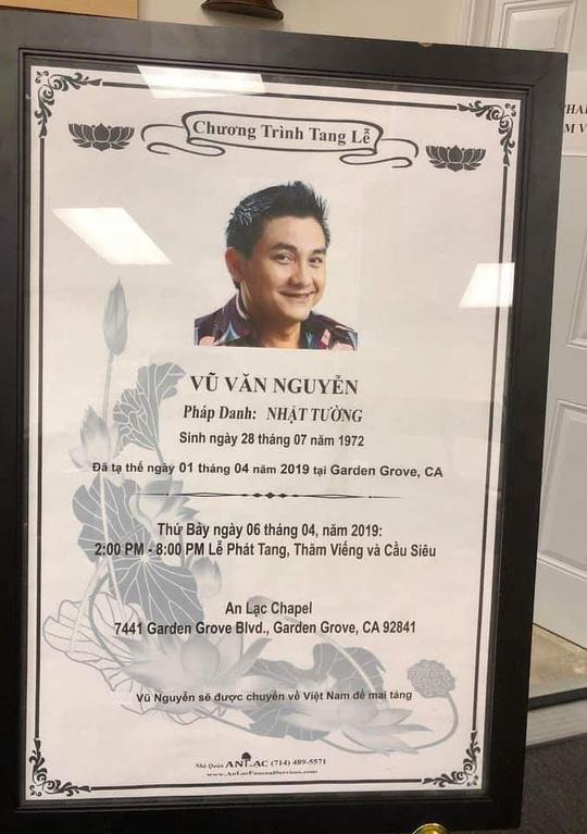 Dự kiến thi hài nghệ sĩ Anh Vũ sẽ được đưa về Việt Nam vào ngày 9/4 - Ảnh 2