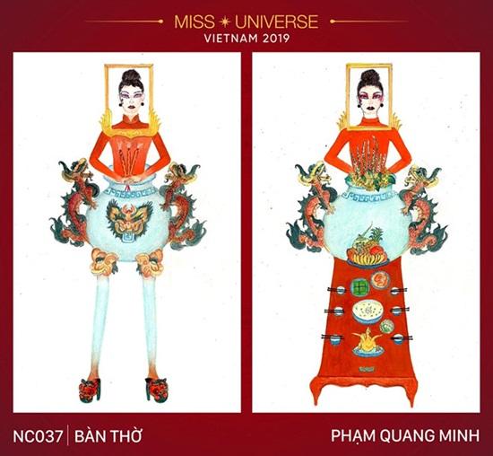 """Thiết kế trang phục """"Bàn thờ"""" cho Hoàng Thùy thi Miss Universe gây tranh cãi dữ dội - Ảnh 1"""