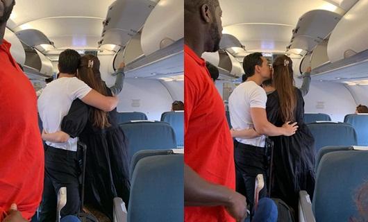 Hồ Ngọc Hà và Kim Lý công khai ôm hôn thắm thiết trên máy bay - Ảnh 1