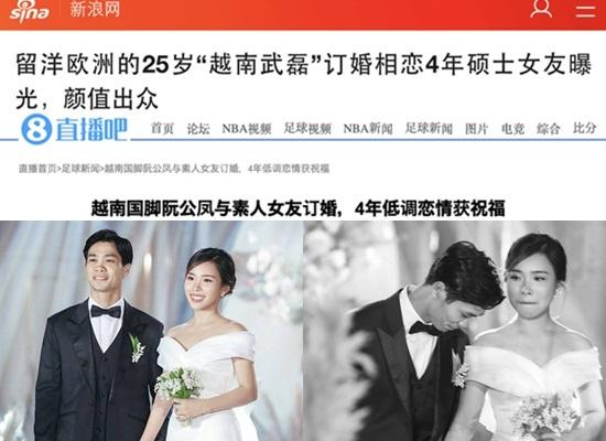 Báo Trung đưa tin về đám cưới Công Phượng - Viên Minh, khen ngợi nhan sắc cô dâu - Ảnh 1