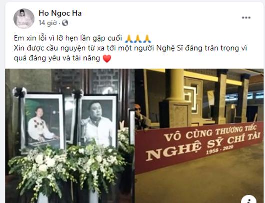 Tin tức giải trí mới nhất ngày 13/12: Hồ Ngọc Hà xin lỗi vì không thể dự tang lễ nghệ sĩ Chí Tài - Ảnh 1
