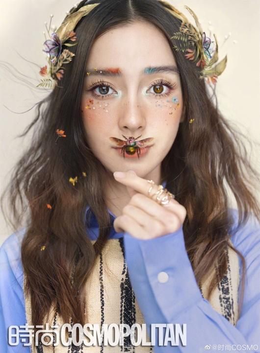 Angelababy hóa tiên tử, kẻ lông mày hai màu lạ mắt - Ảnh 1