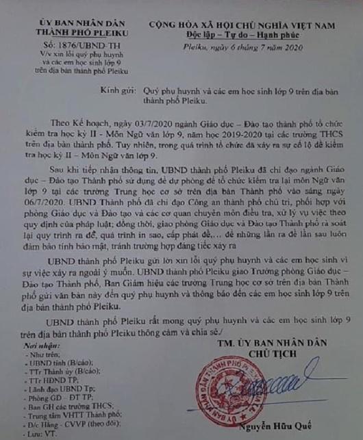 Chủ tịch UBND thành phố Pleiku xin lỗi phụ huynh, học sinh sau sự cố lộ đề thi - Ảnh 1