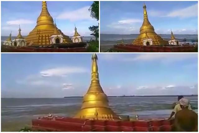 Lũ lớn nhấn chìm chùa vàng tại Myanmar - Ảnh 1
