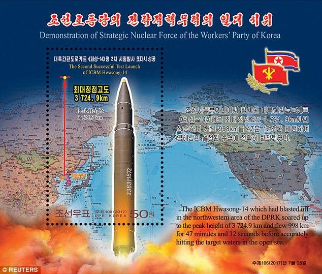 """Triều Tiên công bố bộ """"tem tên lửa"""" giữa căng thẳng - Ảnh 2"""