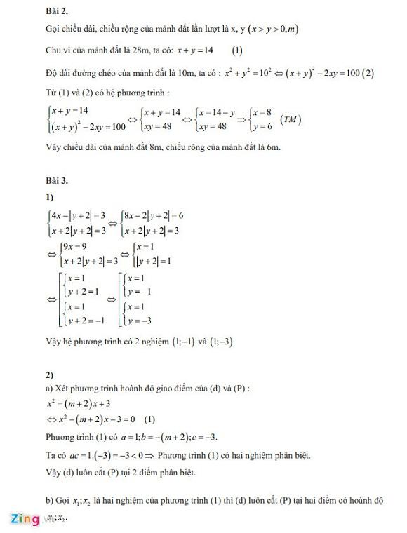 Gợi ý đáp án đề thi vào lớp 10 môn Toán Hà Nội 2018 - Ảnh 3