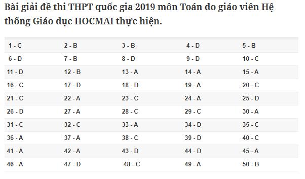 Đáp án môn Toán tất cả các mã đề THPT quốc gia 2019 chuẩn nhất, chính xác nhất (đầy đủ) - Ảnh 3