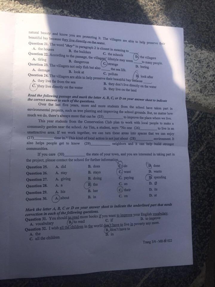 Đáp án, đề thi môn tiếng Anh vào lớp 10 mã đề 022 tại Hà Nội chuẩn nhất, nhanh nhất - Ảnh 3