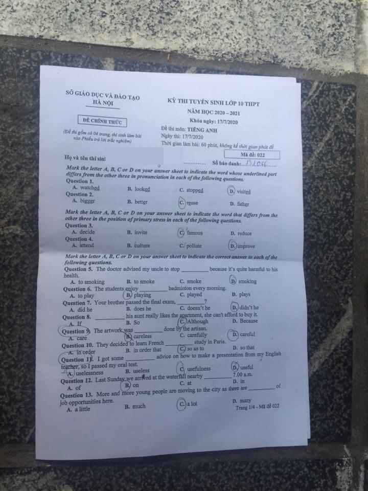 Đáp án, đề thi môn tiếng Anh vào lớp 10 mã đề 022 tại Hà Nội chuẩn nhất, nhanh nhất - Ảnh 1