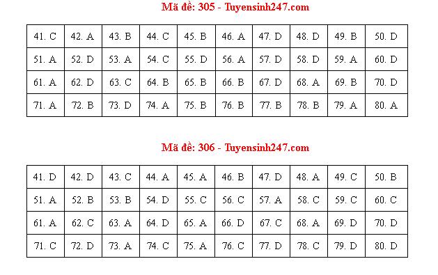 Đáp án, đề thi môn Địa lý mã đề 306 tốt nghiệp THPT 2020 chuẩn nhất, chính xác nhất - Ảnh 1