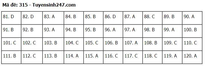 Đáp án, đề thi môn GDCD mã đề 315 tốt nghiệp THPT 2020 chuẩn nhất, chính xác nhất - Ảnh 1