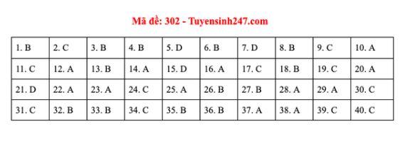 Đáp án, đề thi môn Lịch sử mã đề 302 tốt nghiệp THPT năm 2020 chuẩn nhất, chính xác nhất - Ảnh 1