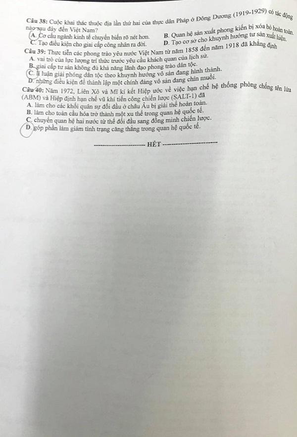 Đáp án, đề thi môn Lịch sử mã đề 321 tốt nghiệp THPT năm 2020 chuẩn nhất, chính xác nhất - Ảnh 4