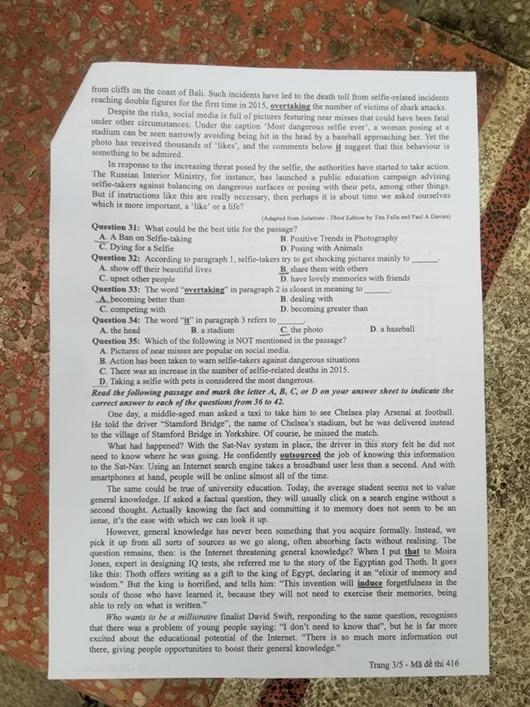 Đáp án, đề thi môn tiếng Anh mã đề 416 tốt nghiệp THPT 2020 chuẩn nhất, chính xác nhất - Ảnh 4