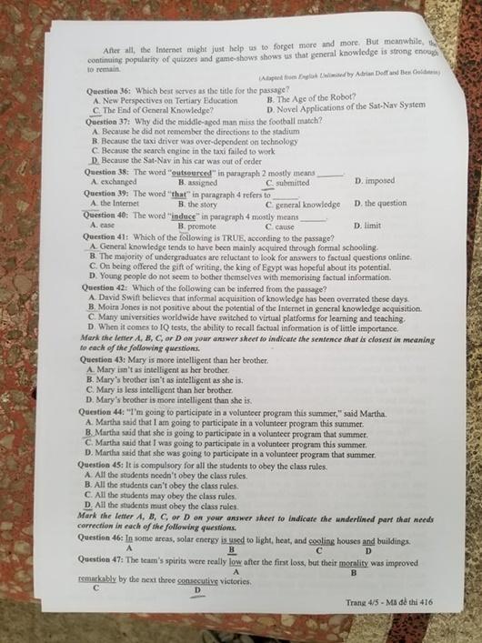 Đáp án, đề thi môn tiếng Anh mã đề 416 tốt nghiệp THPT 2020 chuẩn nhất, chính xác nhất - Ảnh 5