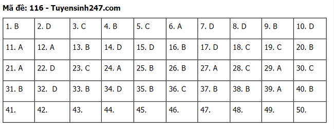 Đáp án, đề thi môn Toán mã đề 116 tốt nghiệp THPT 2020 chuẩn nhất, chính xác nhất - Ảnh 1