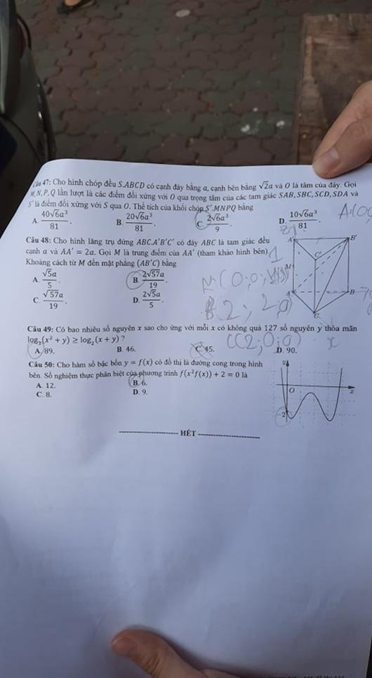 Gợi ý đáp án môn Toán mã đề 110,111,112 tốt nghiệp THPT 2020  - Ảnh 7