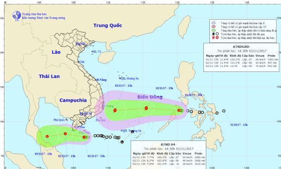 Dự báo thời tiết ngày 2/11: Áp thấp nhiệt đới giật cấp 9, hướng vào Nam Bộ - Ảnh 1