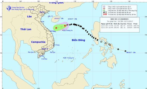Dự báo thời tiết ngày 13/11: Bão suy yếu thành áp thấp nhiệt đới - Ảnh 1