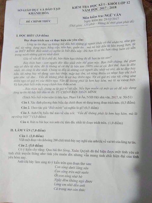 Dừng thi học kì I đối với khối lớp 12 tại Khánh Hòa vì nghi bị lộ đề - Ảnh 1