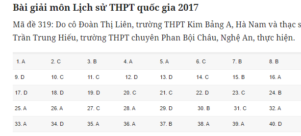 Đáp án đề thi môn Khoa học xã hội tất cả các mã đề THPT quốc gia năm 2017 - Ảnh 9