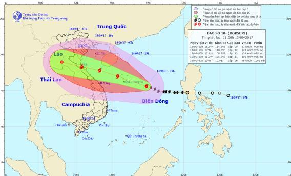 Dự báo thời tiết ngày 14/9: Bão số 10 giật cấp 12, hưởng thẳng vào miền Trung - Ảnh 1