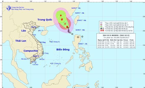 Tin mới nhất cơn bão số 8: Hướng vào Trung Quốc, giật cấp 11 - Ảnh 1