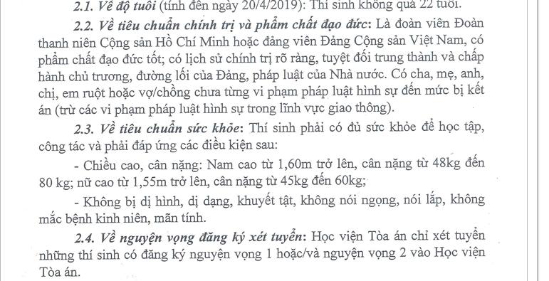 Thí sinh nữ nặng trên 60kg, nam trên 80kg không được dự tuyển vào Học viện Tòa án - Ảnh 1