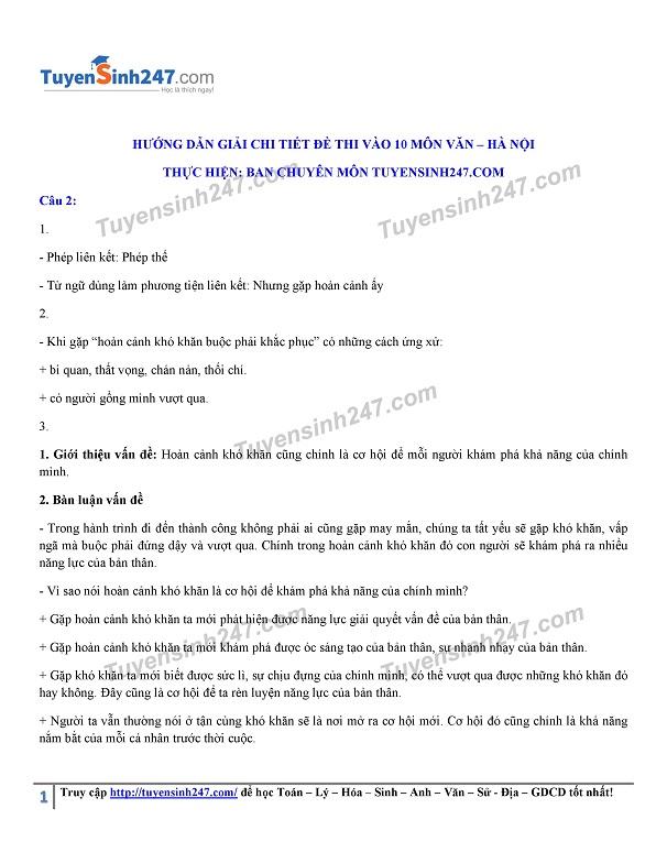 Đáp án, đề thi môn Ngữ Văn vào lớp 10 tại Hà Nội chuẩn và chính xác nhất - Ảnh 4