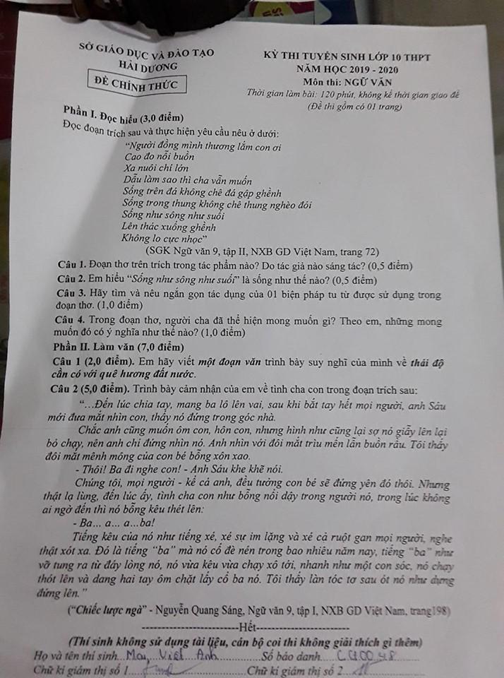 Đáp án, đề thi môn Ngữ văn vào lớp 10 tại Hải Dương chuẩn và chính xác nhất - Ảnh 1