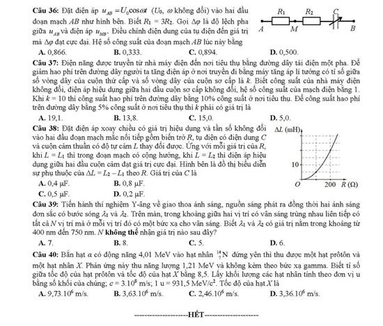 Đề thi môn Khoa học tự nhiên Hóa học-Vật lí-Sinh học tất cả mã đề THPT quốc gia 2019 - Ảnh 5