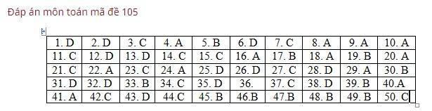 Đáp án, đề thi môn Toán mã đề 101,102,103,104,105 THPT quốc gia 2019 chuẩn nhất, chính xác nhất - Ảnh 5