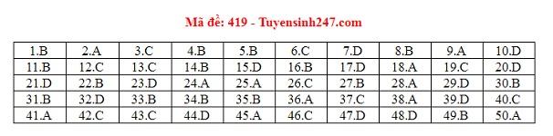 Đáp án đề thi môn tiếng Anh mã đề 419 THPT quốc gia 2019 chuẩn nhất, nhanh nhất - Ảnh 1