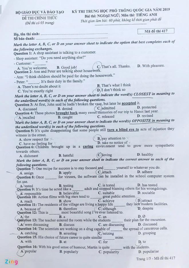 Tham khảo gợi ý đáp án môn tiếng Anh mã đề 417 THPT quốc gia 2019 - Ảnh 2