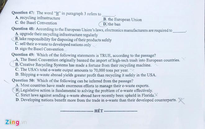 Tham khảo gợi ý đáp án môn tiếng Anh mã đề 417 THPT quốc gia 2019 - Ảnh 6