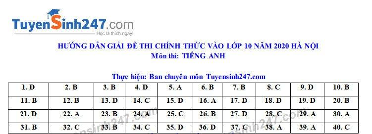 Đáp án, đề thi môn tiếng Anh vào lớp 10 mã đề 008 tại Hà Nội chuẩn nhất, nhanh nhất - Ảnh 1