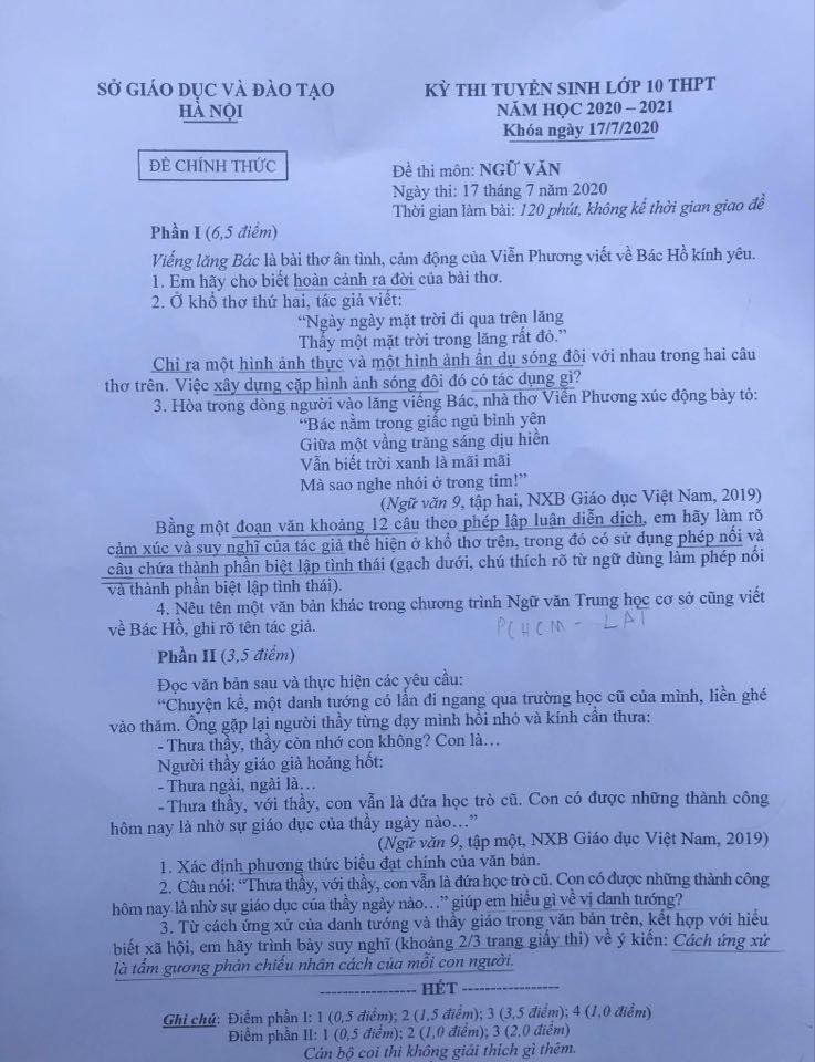 Đáp án gợi ý Ngữ Văn vào lớp 10 tại Hà Nội chuẩn nhất, nhanh nhất - Ảnh 4