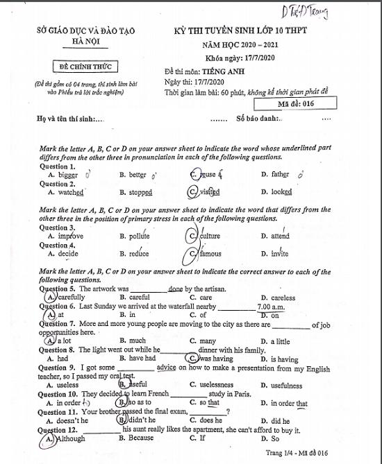 Đáp án, đề thi môn tiếng Anh vào lớp 10 mã đề 016 tại Hà Nội chuẩn nhất, nhanh nhất - Ảnh 2