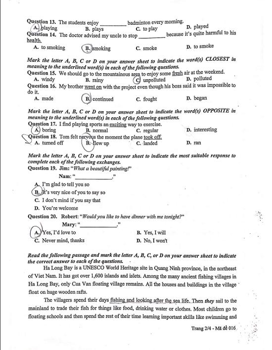 Đáp án, đề thi môn tiếng Anh vào lớp 10 mã đề 016 tại Hà Nội chuẩn nhất, nhanh nhất - Ảnh 3