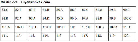 Đáp án, đề thi môn Sinh học mã đề 221 tốt nghiệp THPT 2020 chính xác nhất - Ảnh 1