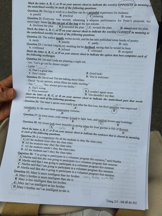 Đáp án, đề thi môn tiếng Anh mã đề 402 tốt nghiệp THPT 2020 chuẩn nhất, chính xác nhất - Ảnh 3