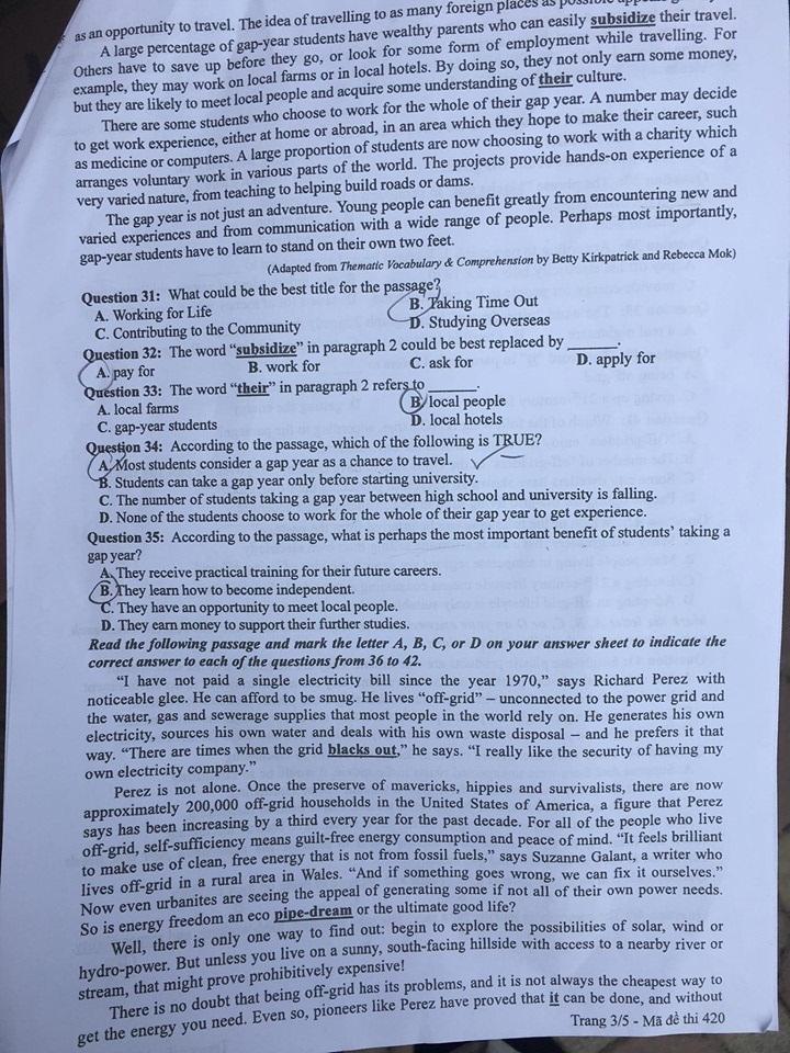 Gợi ý đáp án môn tiếng Anh mã đề 419-420-421 tốt nghiệp THPT 2020  - Ảnh 6