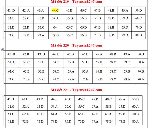 Gợi ý đáp án môn Hóa học mã đề 219-220-221 tốt nghiệp THPT 2020 chính xác nhất - Ảnh 1