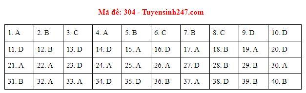 Gợi ý đáp án môn Lịch sử mã đề 304-305-306 tốt nghiệp THPT năm 2020 chuẩn nhất, chính xác nhất - Ảnh 1