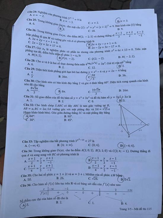 Gợi ý đáp án môn Toán mã đề 113, 114, 115 tốt nghiệp THPT 2020  - Ảnh 4